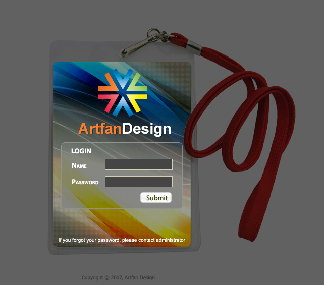 login page template tag style artfans design