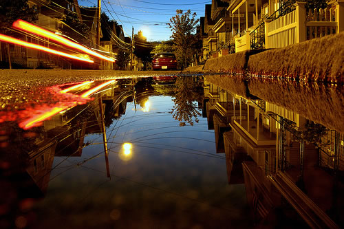 somerville puddle just after sunset