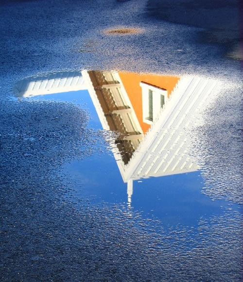 in a puddle