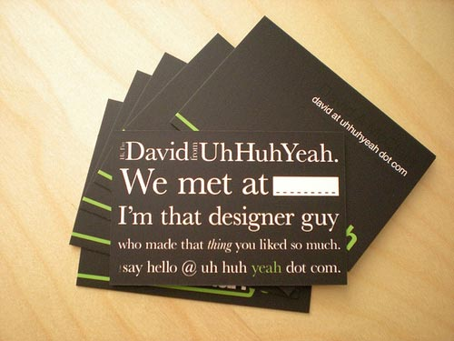 New business cards [back] by Uh Huh Yeah.