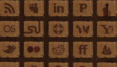 woven-fabric-social-media-icon-set